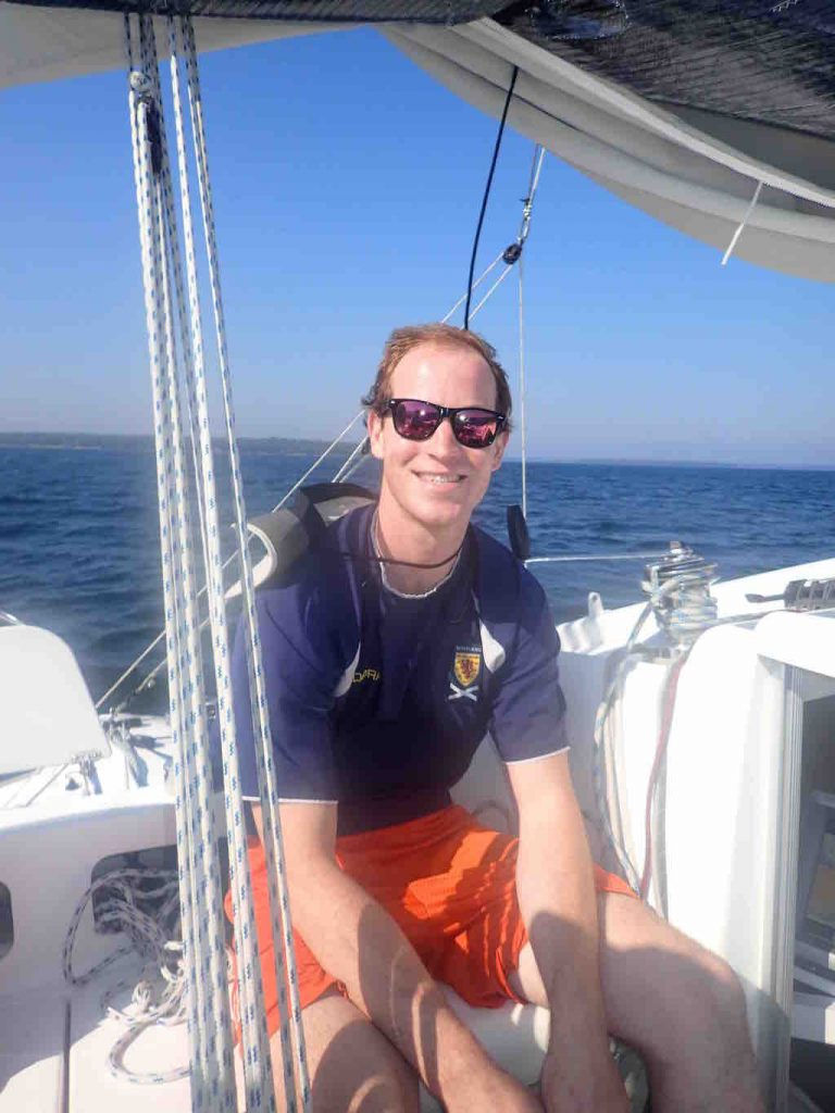 First Mate Alex Kinnaird aboard yacht