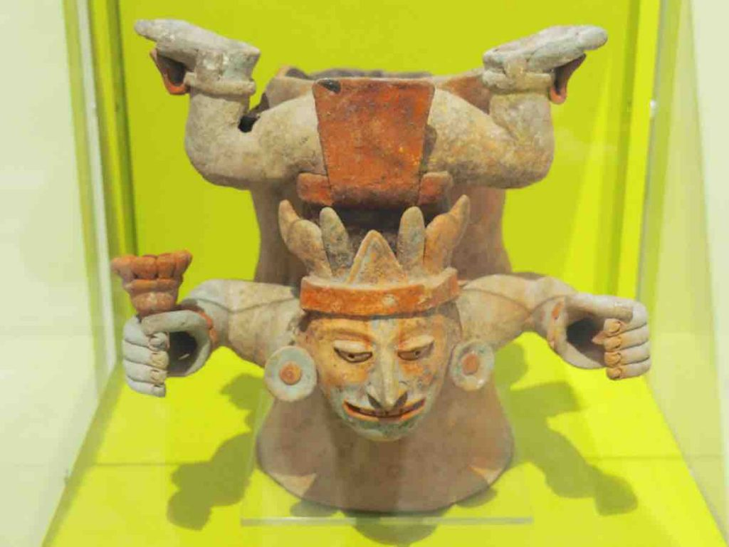 Mayan Sculpture of Man upside down resting on his chest