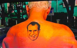 Nixon tattoo on the back of Roger Stone